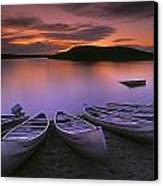 D.wiggett Canoes On Shore, Pink And Canvas Print by First Light