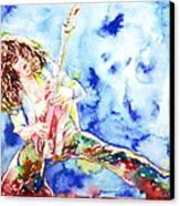 Eddie Van Halen Playing The Guitar.1 Watercolor Portrait Canvas Print