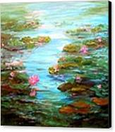 Edge Of The Lily Pond Canvas Print by Barbara Pirkle