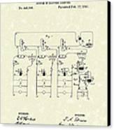 Edison Lighting System 1891 Patent Art Canvas Print by Prior Art Design