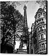 Eiffel Tower Black And White Canvas Print