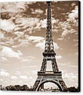 Eiffel Tower In Sepia Canvas Print