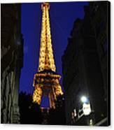Eiffel Tower Paris France At Night Canvas Print