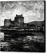 Eilean Donan Castle In Scotland Bw Canvas Print by RicardMN Photography