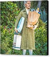 Elderly Shopper Statue Key West - Hdr Style Canvas Print