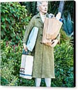 Elderly Shopper Statue Key West Canvas Print