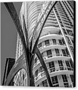 Element Of Duenos Do Los Estrellas Statue With Miami Downtown In Background - Black And White Canvas Print by Ian Monk