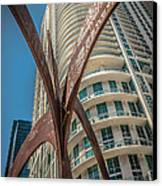 Element Of Duenos Do Los Estrellas Statue With Miami Downtown In Background  Canvas Print by Ian Monk