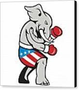 Elephant Mascot Boxer Boxing Side Cartoon Canvas Print