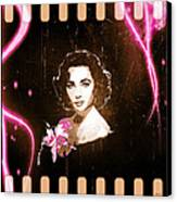 Elizabeth Taylor - Pink Film Canvas Print by Absinthe Art By Michelle LeAnn Scott