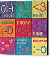 Emoticons Patch Canvas Print