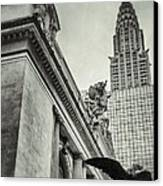 Empire State Building And Grand Central Station Vintage Black And White Canvas Print by For Ninety One Days