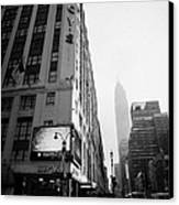 Empire State Building Shrouded In Mist As Pedestrians Crossing Crosswalk On 7th Ave New York Canvas Print