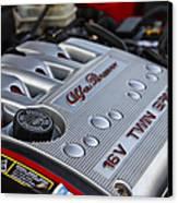 engine cover on an Alfa Romeo twin spark engine in a 156 Canvas Print by Joe Fox