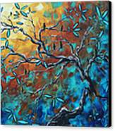 Enormous Abstract Bird Art Original Painting Where The Heart Is By Madart Canvas Print by Megan Duncanson