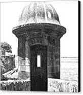 Entrance To Sentry Tower Castillo San Felipe Del Morro Fortress San Juan Puerto Rico Bw Film Grain Canvas Print