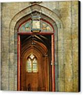 Entrance To The Gothic Revival Chapel. Streets Of Dublin. Painting Collection Canvas Print