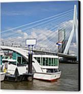 Erasmus Bridge In Rotterdam Downtown Canvas Print by Artur Bogacki