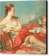 Erato  The Muse Of Love Poetry Canvas Print by Francois Boucher