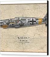Erich Hartmann Messerschmitt Bf-109 - Map Background Canvas Print by Craig Tinder