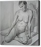 Eva. Light And Shadows' Borderline Canvas Print by Laszlo Pal