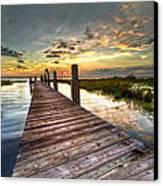 Evening Dock Canvas Print by Debra and Dave Vanderlaan