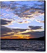 Evening Sky Over Lake Canvas Print by Olivier Le Queinec