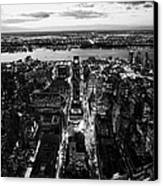 Evening View Of Manhattan West Towards Hudson River And One Penn Plaza Night New York City Canvas Print