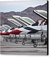 F-16c Thunderbirds On The Ramp Canvas Print by Terry Moore
