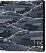 Fa18 Super Hornets Sit On The Flight Deck Of The Aircraft Carrier Uss Enterprise  Canvas Print by Paul Fearn