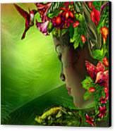 Fae In The Flower Hat Canvas Print by Carol Cavalaris