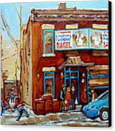 Fairmount Bagel In Winter Montreal City Scene Canvas Print by Carole Spandau