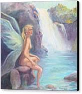 Fairy Of The Falls Morning Bath Canvas Print by Gwen Carroll