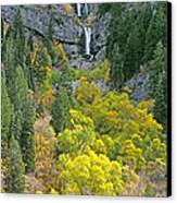 Fall Color And Waterfalls In Provo Canyon Utah Canvas Print