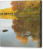 Fall Colors On Taylor Pond Mount Vernon Maine Canvas Print by Keith Webber Jr