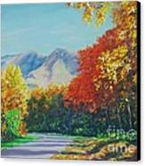 Fall Scene - Mountain Drive Canvas Print