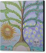 Family Tree Chart Sun Moon And Stars Canvas Print by Alix Mordant