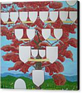 Family Tree Ruby-red Canvas Print by Alix Mordant