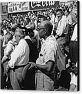 Fans At Yankee Stadium Stand For The National Anthem At The Star Canvas Print by Underwood Archives