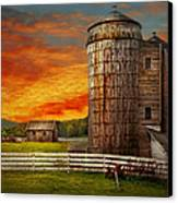 Farm - Barn - Welcome To The Farm  Canvas Print by Mike Savad