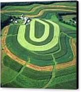 Farm Greens And Hillside Contour Plowing Canvas Print