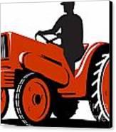 Farmer Driving Vintage Tractor Retro Canvas Print by Aloysius Patrimonio