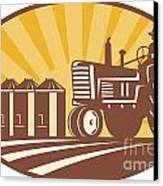 Farmer Driving Vintage Tractor Retro Woodcut Canvas Print
