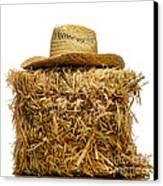 Farmer Hat On Hay Bale Canvas Print