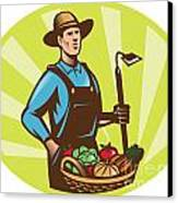 Farmer With Garden Hoe And Basket Crop Harvest Canvas Print