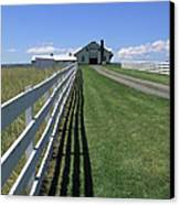Farmhouse And Fence Canvas Print by Frank Romeo