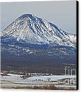 Farmland Under The Mountain Canvas Print by Meandering Photography