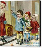 Father Christmas Disembarking Train Canvas Print by Mary Evans