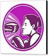 Female Boxer Punch Retro Canvas Print