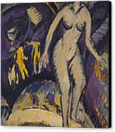 Female Nude With Hot Tub Canvas Print by Ernst Ludwig Kirchner